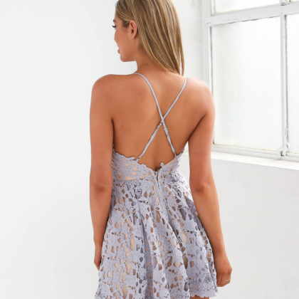 Lace Strappy Plunge V Mini Skated D..