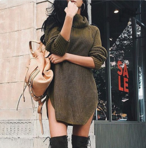 Knitted Turtleneck Long Sleeves Short Sweater Dress Featuring Slits