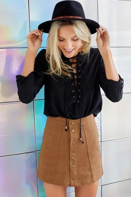 Suede Front Buckle Package Hip Skirt