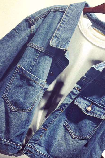 Loose Solid Color Long-Sleeved Denim Jacket