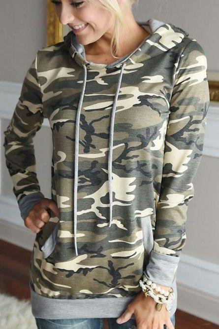 Camo Long Sleeve Hoodies Sweatshirt