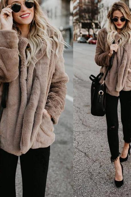 SOLID COLOR POCKET LONG-SLEEVED SWEATER CARDIGAN JACKET
