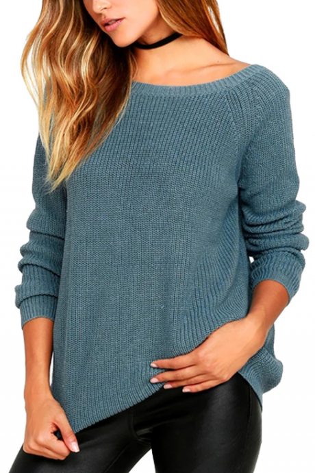 Sexy V-Neck Long-Sleeved Backless Knitted Sweaters