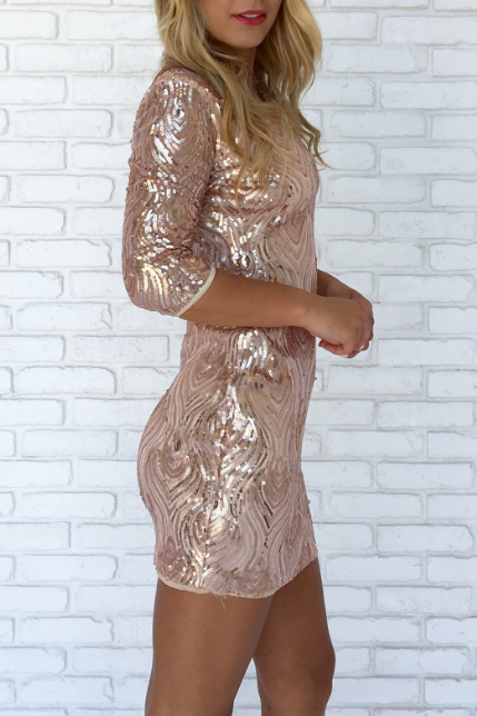 Sequined Long-Sleeved Package Hip Dress