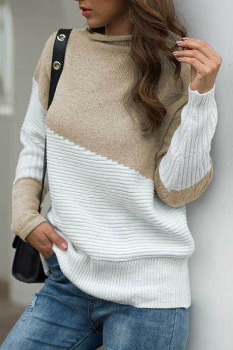 Irregular High-Necked Knit Sweater