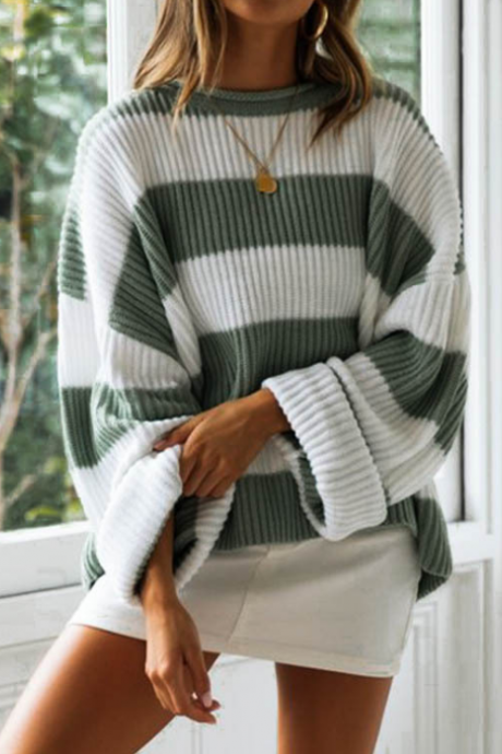 Round Neck Striped Women'S Color Matching Knitted Sweater
