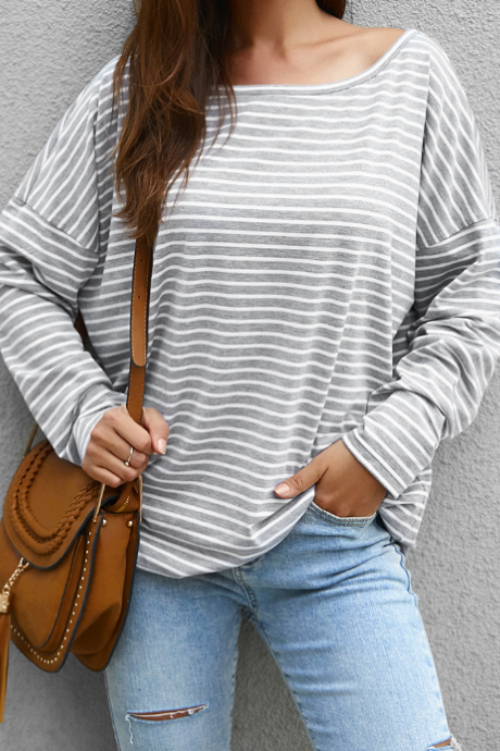 Long-Sleeved Design Striped T-Shirt