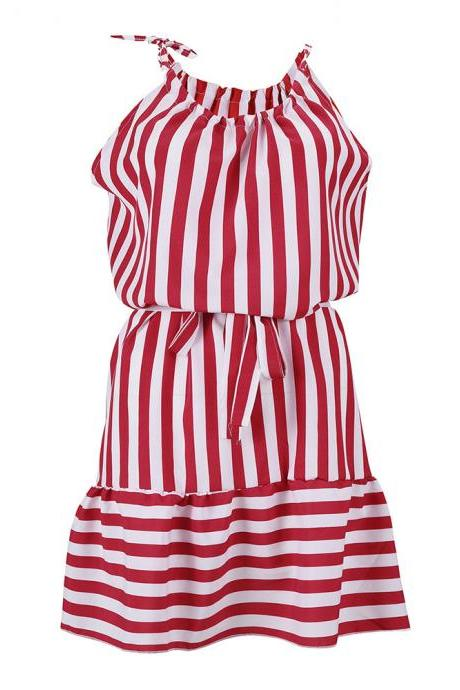 Red and White Stripes Halter Neck Short Casual Dress