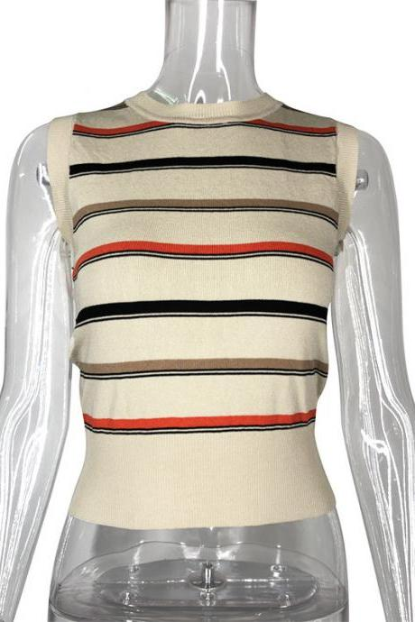 Women'S Knitted Striped Vest Top