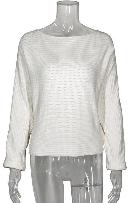 Solid Color Long-Sleeved One-Shoulder Knitted Sweater