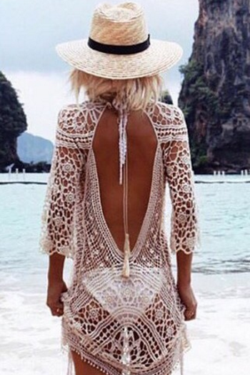 Sexy White Beachwear Lace Dress DF22102GF