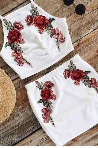 White Two-Piece Floral Embroidered Dress
