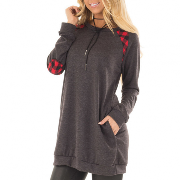Round Neck Plaid Splicing Pocket Long-Sleeved Sweater