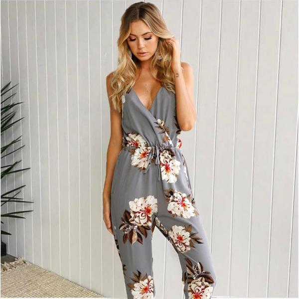 Summer Hot Sale Print Spaghetti Strap Jumpsuit