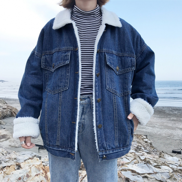 Winter Vintage Denim Jacket Women Thicken Lamb Fur Warm Fleece Jeans Womens Jackets Coat Boyfriend Windbreaker Parka