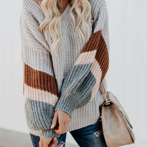 Striped V-Neck Color Matching Knitted Sweaters