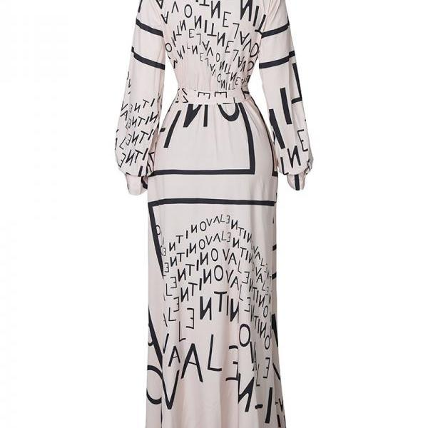 Long Sleeve Letter Print V-Neck Dress
