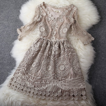 Gold Thread Embroidery Dress