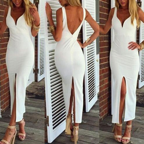 Slim V-neck white dress VG10106NM